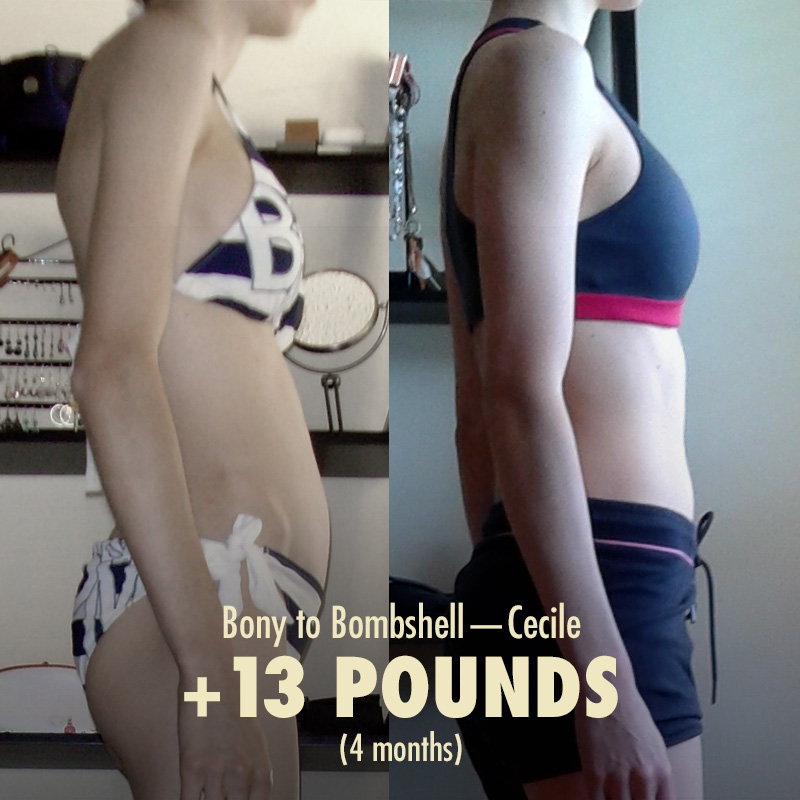 Bony to Bombshell Women Slender Weight Gain Transformation Before and After Photo