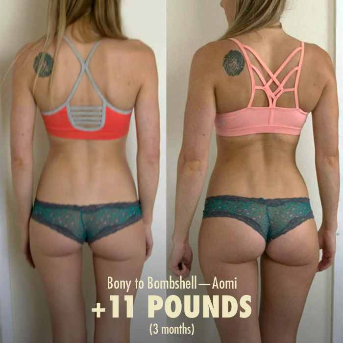 Bony to Bombshell Women Weight Lifting Transformation Before and After Photo