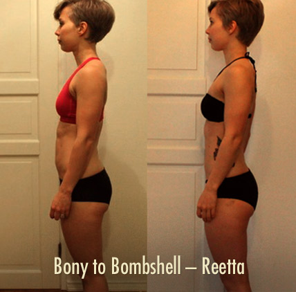 Bony to Bombshell Reetta showing more muscle and less fat