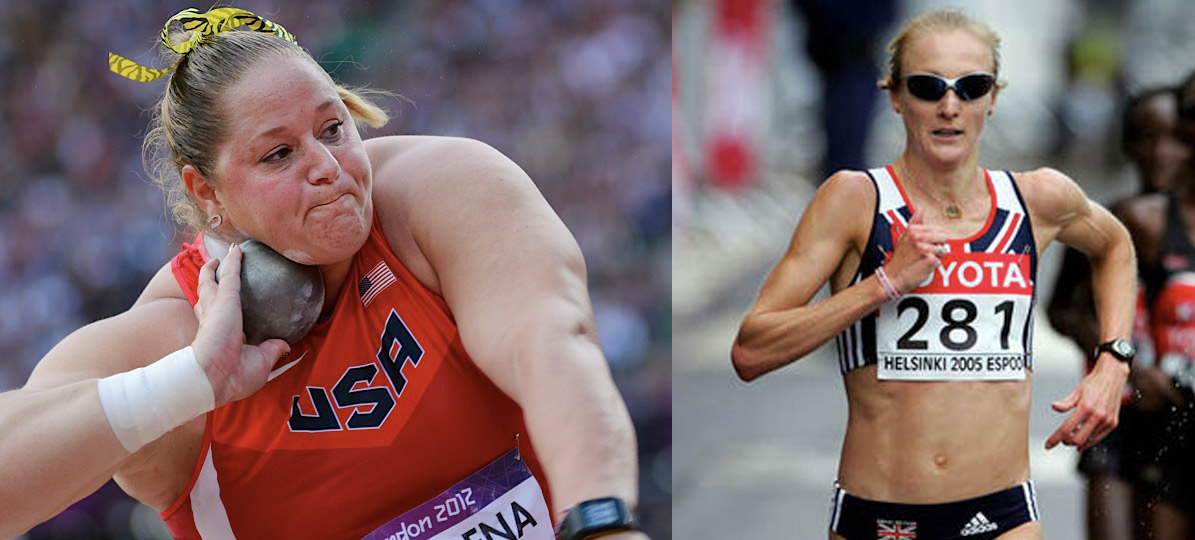 Endomorph Woman Doing the Shot Put vs Ectomorph Woman Running a Marathon
