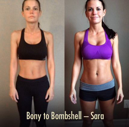 Bony to Bombshell Sara showing better posture (and more muscle)