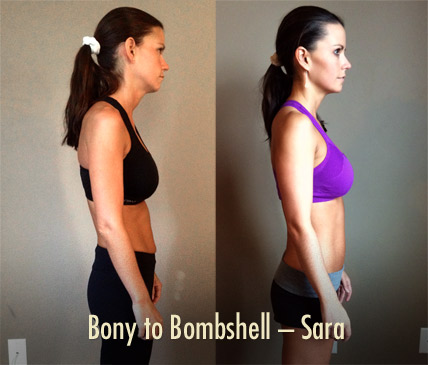 Bony to Bombshell Sara women's muscle-building transformation better posture (and more muscle)