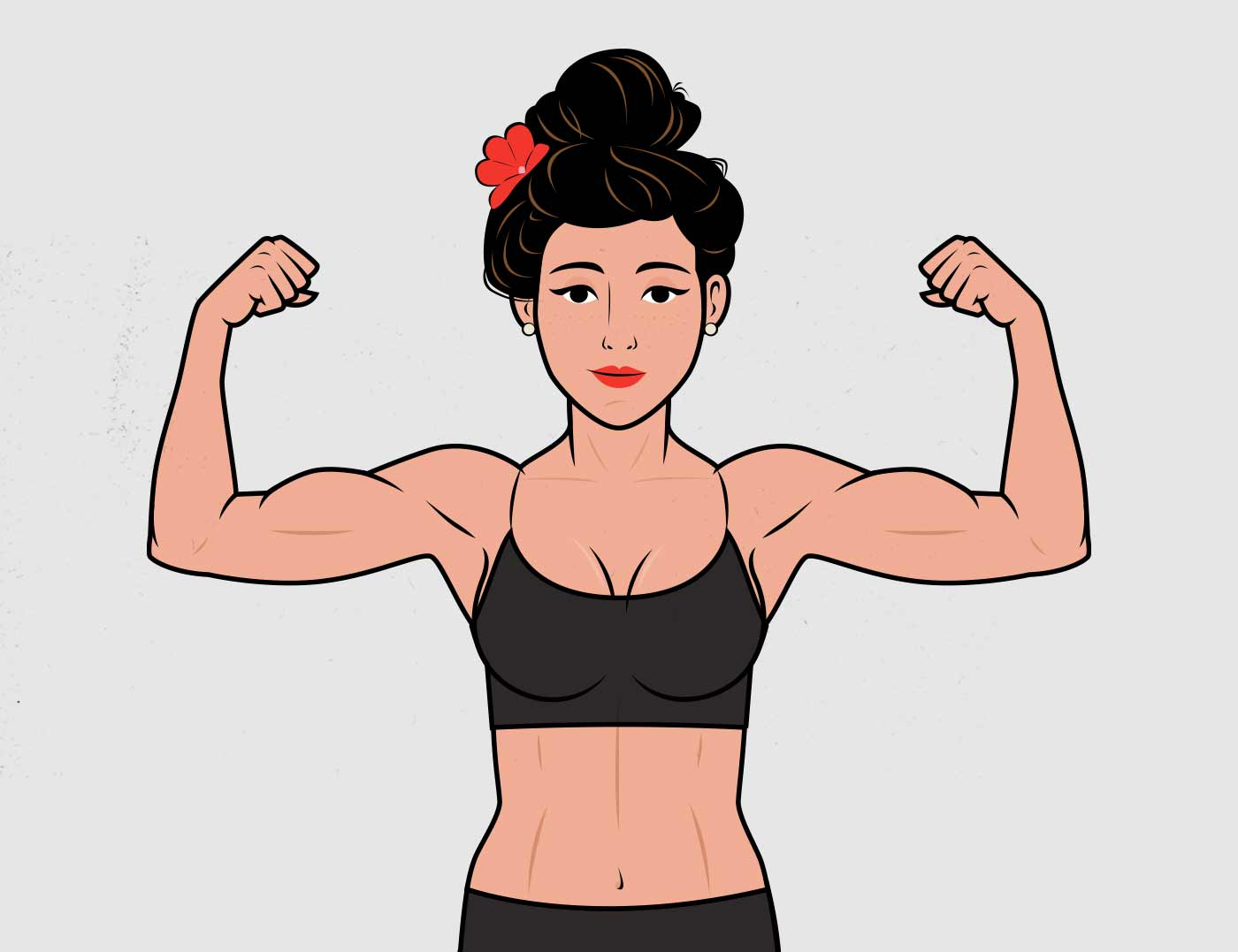 Illustration of a woman flexing her biceps.