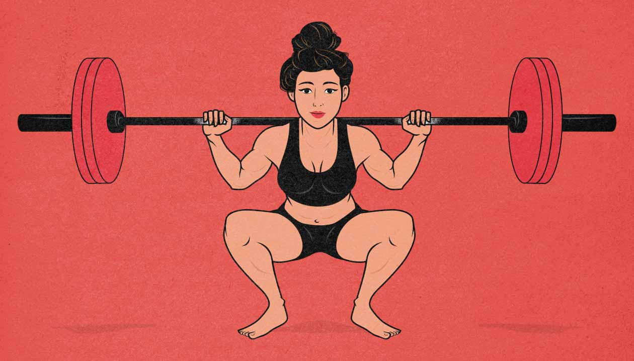 Illustration of a woman squatting to gain muscle mass and strength.