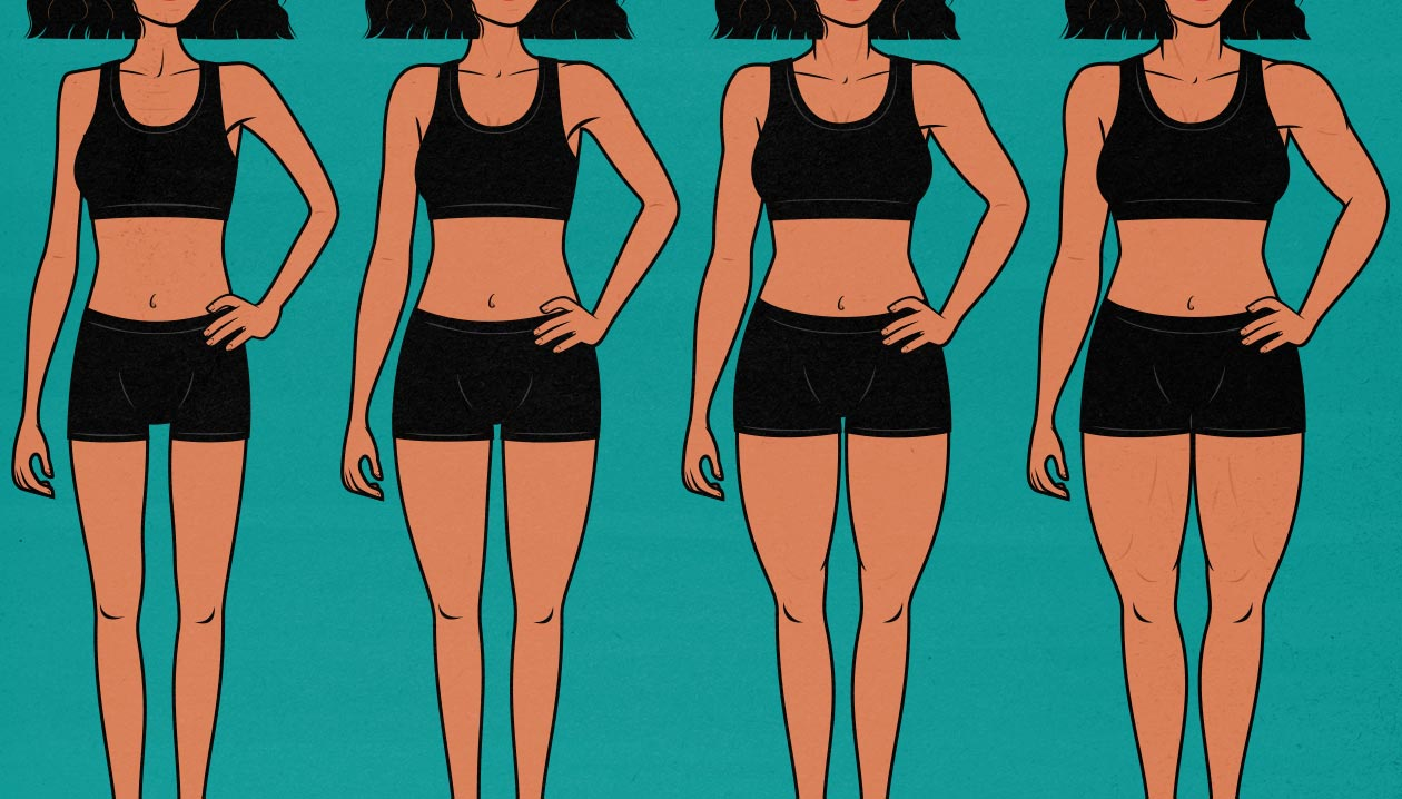 Illustration showing a variety of female bodies, ranging from thin to muscular.